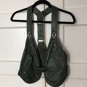 Accessories - Olive Green real leather holster vest